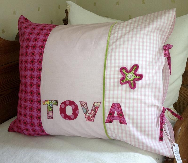 C, rose, checked, flowered, Tova with crochet flower