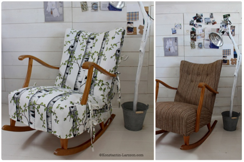 Rocking-chair in fabric: birch-tree