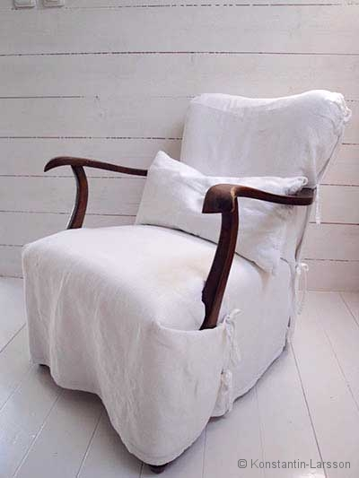 Armchair cover, white
